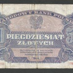 POLONIA  50  ZLOTI  ZLOTYCH  1944  [1] P-114 ,  cu eroare de printare