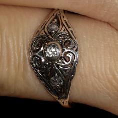 Unicat, inel din aur vechi cu diamant, SUPERB! - Inel diamant, Carataj aur: 14k, Culoare: Alb