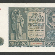 POLONIA 50 ZLOTI ZLOTYCH 1941, Ocupatie Nazista [10] P-102, VF - bancnota europa