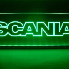 Emblema Scania pentru cabina interior prindere parbriz led 5 w 12/24v Verde - Camion