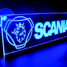 Emblema Scania Led pentru cabina prindere interioara pe parbriz led 5 w 12/24v Albastru - Tuning camioane