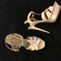 Vand Sandale Originale YSL - Sandale dama Yves Saint Laurent, Culoare: Nude, Marime: 39