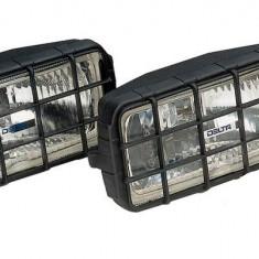 Proiectoare Halogen 12v/24 Auto Delta Patrate Cu Grilaj Detasabil 55w (Set 2 buc) - Troliu Auto
