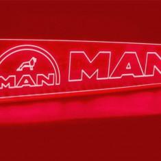Emblema Man Led pentru cabina prindere interioara pe parbriz led 5 w 12/24v Rosu (Dimensiune Mare) - Tuning camioane