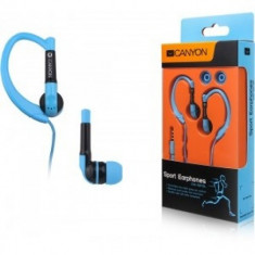 Canyon sport earphones, over-ear fixation, inline microphone, blue - Casca PC