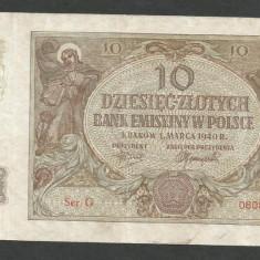 POLONIA 10 ZLOTI ZLOTYCH 1940 [6] P-94b, Ocupatie Nazista - bancnota europa
