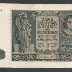 POLONIA 50 ZLOTI ZLOTYCH 1941, Ocupatie Nazista [8] P-102, XF+ - bancnota europa