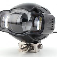 Proiector LED Moto, ATV putere 20W, 2000 Lm, cu incarcator USB si suport de bara