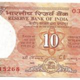 !!! INDIA - 10 RUPII (1992) - P 88 e - UNC / CEA DIN SCAN /CU GAURI DE CAPSARE - bancnota asia