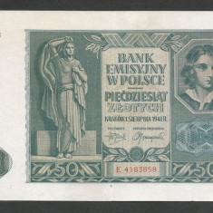 POLONIA 50 ZLOTI ZLOTYCH 1941, Ocupatie Nazista [7] P-102, XF+ - bancnota europa