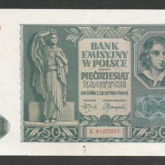 POLONIA 50 ZLOTI ZLOTYCH 1941, Ocupatie Nazista [9] P-102, XF - bancnota europa