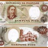 !!! FILIPINE - 10 PISO (1969) - P 144 a - UNC / SEMNATURILE DIN IMAGINE - bancnota asia