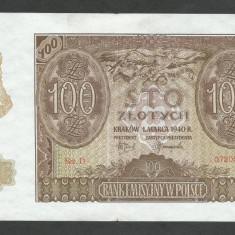 POLONIA 100 ZLOTI ZLOTYCH 1940 [2] P-97, VF, Ocupatie Nazista - bancnota europa