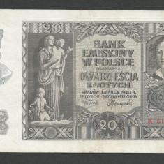 POLONIA 20 ZLOTI ZLOTYCH 1940 [1] P-95, XF+, Ocupatie Nazista - bancnota europa