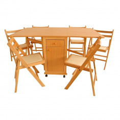 Set masa plianta cu usa si sertar fag cu 6 scaune - Masa living