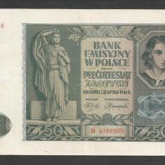 POLONIA 50 ZLOTI ZLOTYCH 1941, Ocupatie Nazista [11] P-102, VF - bancnota europa