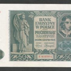 POLONIA 50 ZLOTI ZLOTYCH 1941, Ocupatie Nazista [6] P-102, XF+ - bancnota europa