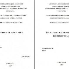 LUCRARE DE LICENTA A.M.G. - INGRIJIREA PACIENTELOR CU HISTERECTOMIE - Carte Obstretica Ginecologie