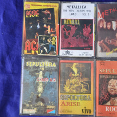 Lot 13 Casete audio vechi muzica Rock.Sepultura, Metalica, ACDC, Celelalte cuvinte