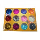 Sclipici hexagon mic set 12 bucati - CD015 - Decoratiuni unghii