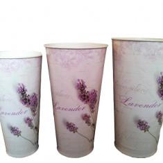 Set 3 vaze din plastic rotunde - Vaza si suport flori