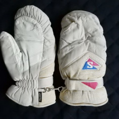 Manusi ski Salomon, piele naturala in palma; marime L dame - Echipament ski Salomon, Femei