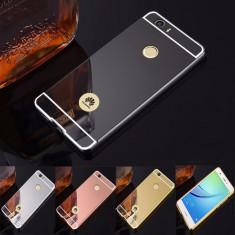 Husa / Bumper aluminiu + spate acril oglinda pentru Huawei Nova - Bumper Telefon, Auriu