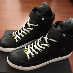 Pantofi sport/ Sneakers Versace Piele Nappa - ORIGINALI - 45-46 - NOI - Adidasi barbati Versace, Culoare: Negru