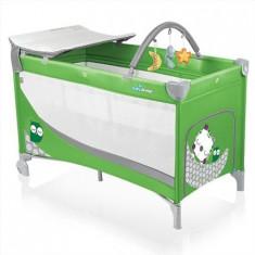 Patut pliabil cu 2 nivele - Baby Design Dream 04 green 2015 - Patut pliant bebelusi Baby Design, 120x60cm, Verde