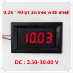 Voltmetru digital cu leduri rosii, 3.5-30 V, 4 digit, 2 fire, carcasa