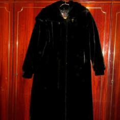Haină damă imitație de blană (100% lână) - Paltoan XXXL, Culoare: Negru