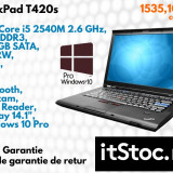 Lenovo ThinkPad T420s, Intel Core i5, 4 GB, 320 GB, Garantie 3 Ani - Laptop Lenovo, Diagonala ecran: 14