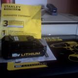 Acumulator li-ion, nou si original, pentru Bormasina DeWalt profesionala STANLY 18v1, 3Ah