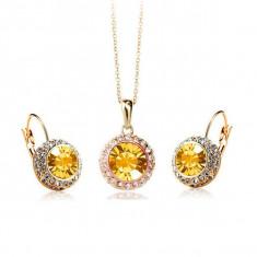 GOLD_FILLED_set colier si cercei cristale swarovski portocalii si albe - Set bijuterii placate cu aur