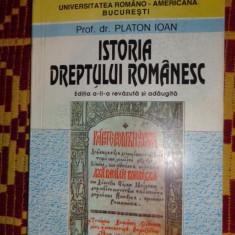 Istoria dreptului romanesc an 1997/353pag- Platon Ioan - Carte Istoria dreptului