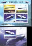 COREEA DE NORD 2002, Dirijabile, Zeppelin, serie neuzata, MNH, Nestampilat