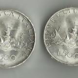 500 DE LIRE 1966, STARE SUPERBA AUNC--UNC !!, ARGINT, 835/1000, 11 GRAME., Europa