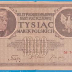 (1) BANCNOTA POLONIA - 1000 MAREK 1919 (17 MAI 1919), FILIGRAN STUP ALBINA - bancnota europa