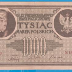 (10) BANCNOTA POLONIA - 1000 MAREK 1919 (17 MAI 1919), FILIGRAN STUP ALBINA - bancnota europa