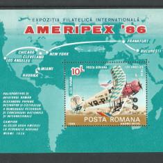 No(100)-colita-EXPOZITIA FILATELICA AMERIMPEX 86 - Timbre Romania, An: 1986, Nestampilat