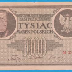(11) BANCNOTA POLONIA - 1000 MAREK 1919 (17 MAI 1919), FILIGRAN STUP ALBINA - bancnota europa