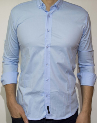 Camasa - camasa bleu camasa slim camasa eleganta camasa barbat cod 88 foto