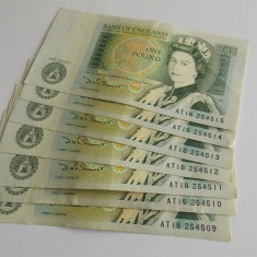 Lot -7 bancnote 1 lira Anglia -numere consecutive, Europa