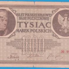 (2) BANCNOTA POLONIA - 1000 MAREK 1919 (17 MAI 1919), FILIGRAN STUP ALBINA - bancnota europa