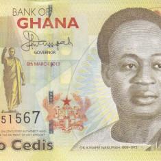 Bancnota Ghana 2 Cedis 2013 - P37Ab UNC - bancnota africa