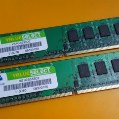 Kit 2GB DDR2 Desktop, 1GBx2, Corsair, PC2-4200, 533Mhz, Single Sided - Memorie RAM Corsair, Dual channel