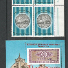 (No100)timbre-Romania 1984-L.P.1180+1181-Bancnote si monede rmanesti -bloc de 4, An: 1987, Nestampilat