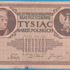 (16) BANCNOTA POLONIA - 1000 MAREK 1919 (17 MAI 1919), FILIGRAN STUP ALBINA - bancnota europa