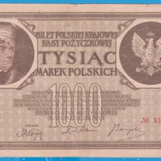 (12) BANCNOTA POLONIA - 1000 MAREK 1919 (17 MAI 1919), FILIGRAN STUP ALBINA - bancnota europa