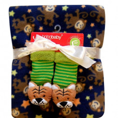 Bobobaby set de cadou: paturica + sosete 3d - albastru inchis - Lenjerie pat copii